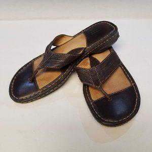 Born Thong Brown Leather Sandals Flip Flops Sz 8